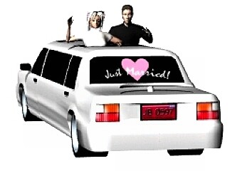 Bride & Groom in limousine
