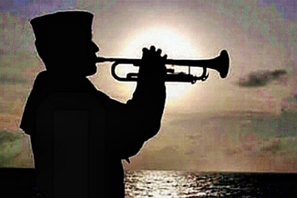 Burial at sea - bugler plays taps