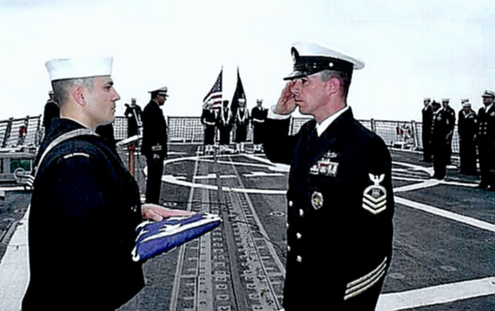 Burial at Sea Ceremony in USS Bulkeley