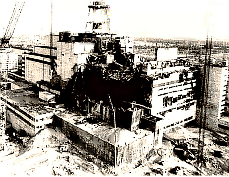 Chernobyl site after meltdown