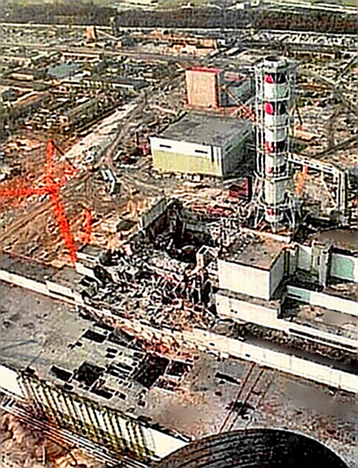 Chernobyl Reactor #4 showing damage