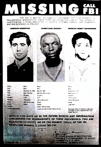 Michael Schwerner, James Chaney, Andrew Goodman FBI Missing Poster