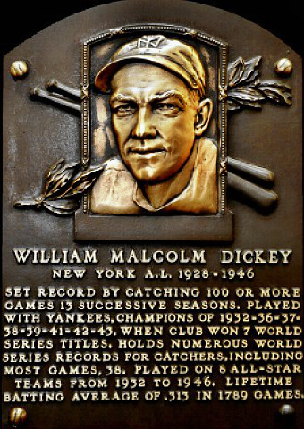 Bill Dickey Hall of Fame plaque