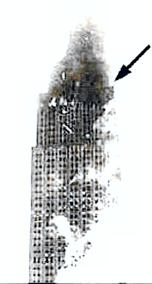 Empire State Building - arrow shows crash site