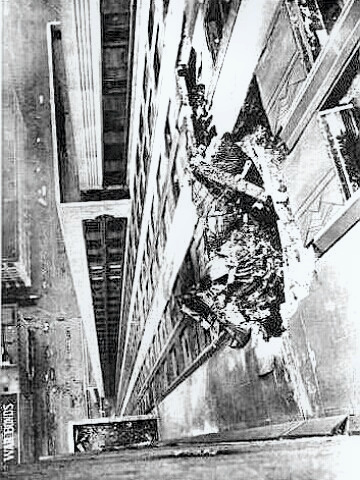 Empire State Building - close-up of crash damage