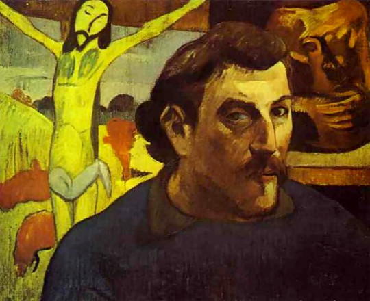 Paul Gauguin's self-portrait with Yellow Jesus in background