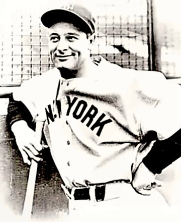 Baseball Great Lou Gehrig at the plate