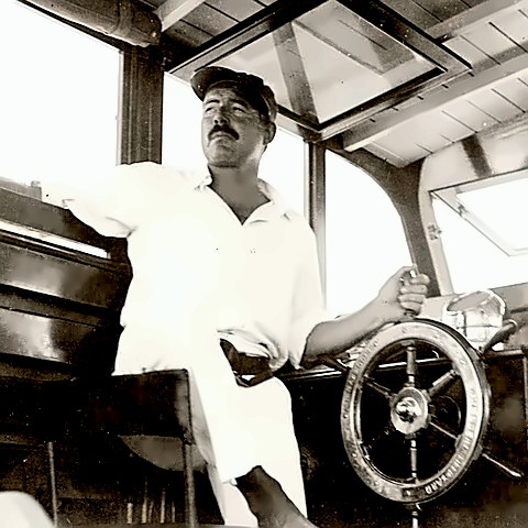 Hemingway on his boat Pilar