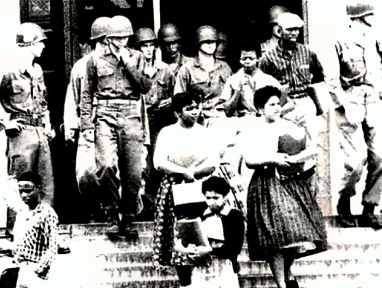Little Rock Nine Students with 101st Airborne troops