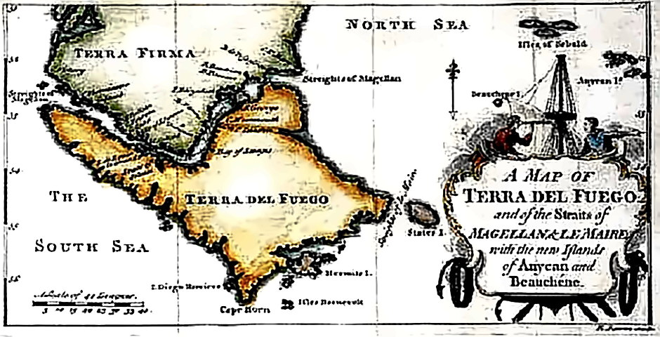 Old Map of Magellan Straits