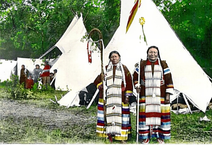Native Americans in traditional garb