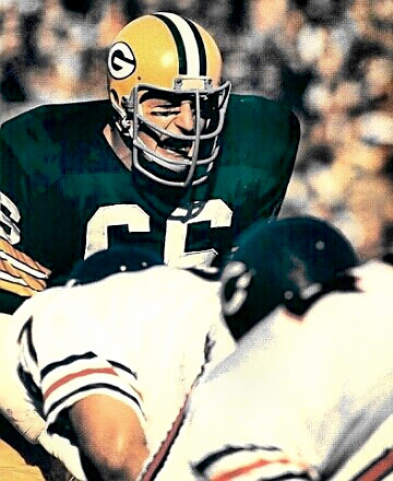 Mr. Nitschke waiting for the ball carrier