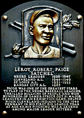 Satchel Paige Hall of Fame plaque