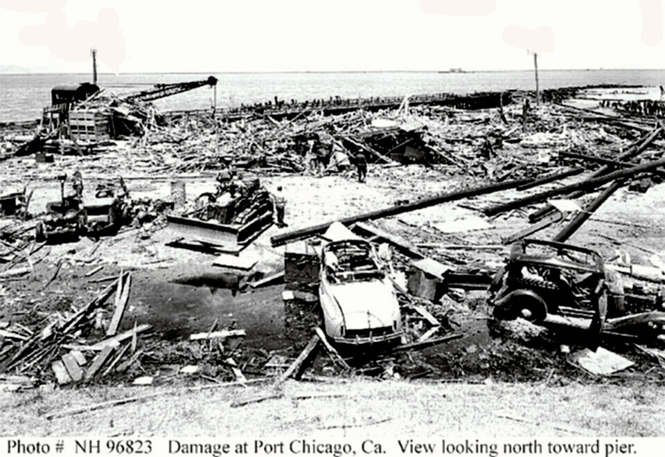 Port Chicago pier devastation after explosion