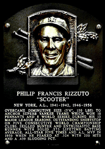 Rizzuto Hall of Fame plaque