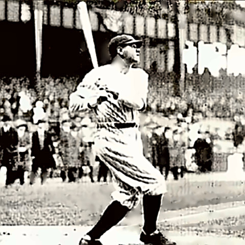 The Bambino, Babe Ruth, hitting one out