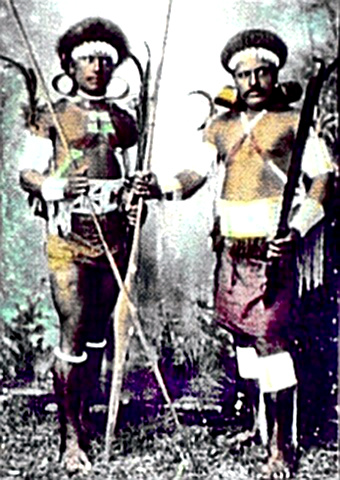 Solomon Islands Native Warriors in full battle dress