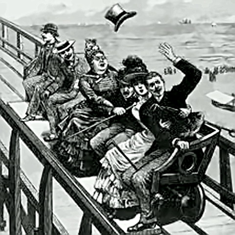 Riders on Thompson's Coney Island Roller Coaster