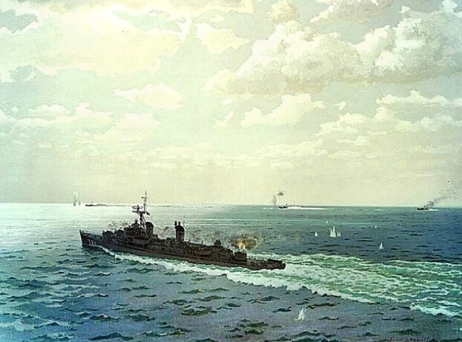 Painting of Tonkin Gulf incident and USS Maddox