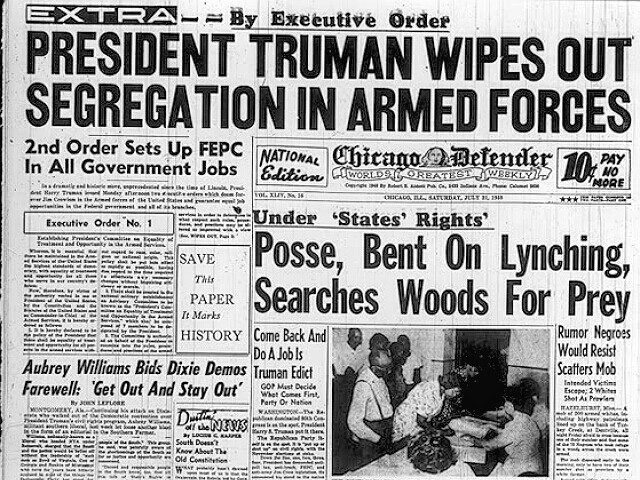 Truman Integrates Armed Forces newspaper headline