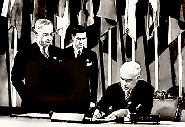 USA Rep signing United Nations Charter