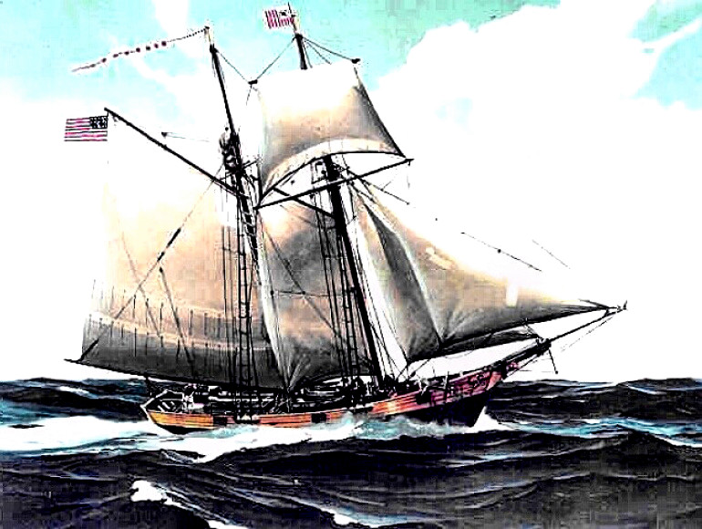 US Revenue Cutter Massachusetts under sail