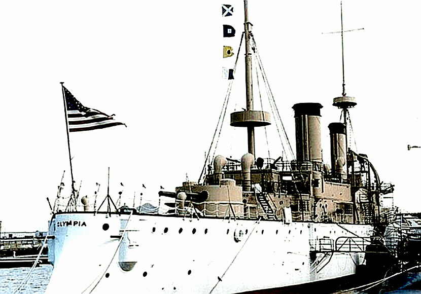 USS Olympia moored in port