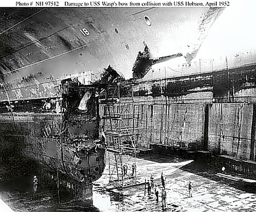 USS Wasp (CV-18) in drydock following collision with Hobson