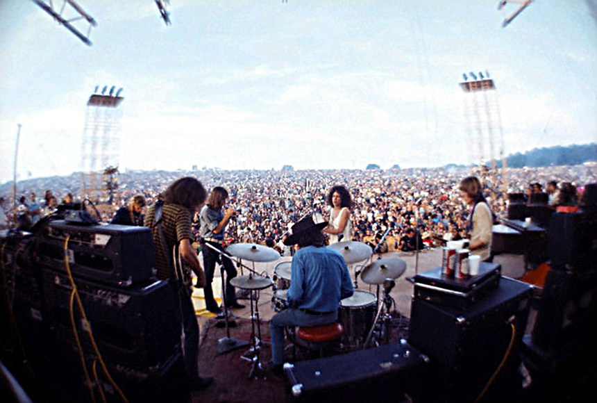 Woodstock Festival with Jefferson Airplane on stage