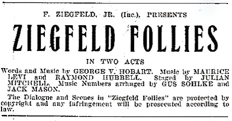 Zigfield Follies Program